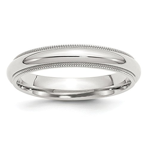 925 Sterling Silver 4mm Milgrain Comfort Fit Wedding Ring Band Size 11.00 Classic Half Round Fine Jewelry Gifts For Women For Her