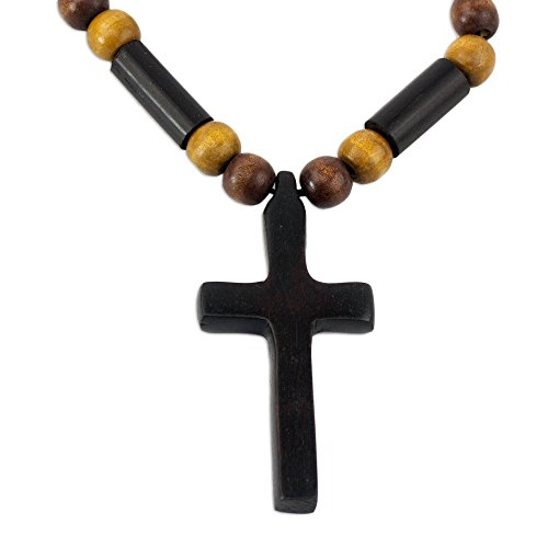 NOVICA Bamboo Wood Pendant Necklace 'African ()