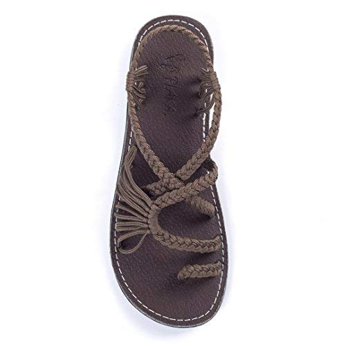 - Plaka Flat Summer Sandals for Women Taupe Size 8 Palm Leaf