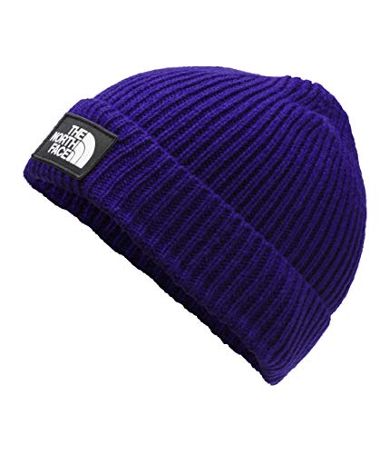 The North Face TNF Logo Box Cuffed Beanie, Aztec Blue/Asphalt Grey, Size OS Regular
