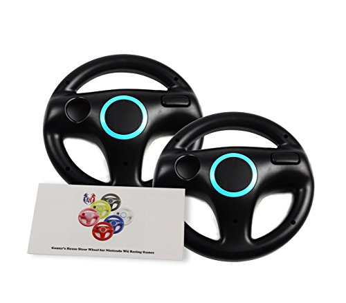 GH 2 Pack Wii Steering Wheel for Mario Kart 8 and Other Nintendo Remote Driving Games, Wii (U) Racing Wheel for Remote Plus Controller - Bomb Black (6 Colors Available)