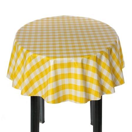 Yellow Gingham Check Round Vinyl Tablecloth (137cm Diameter)