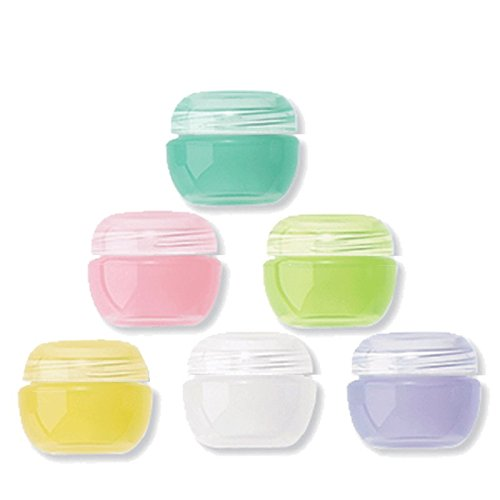 Grand Parfums 2 gram Colorful Empty Cosmetic Jars, Creams, Salves, Samples, PP Plastic Set of 6 (2g Jar)