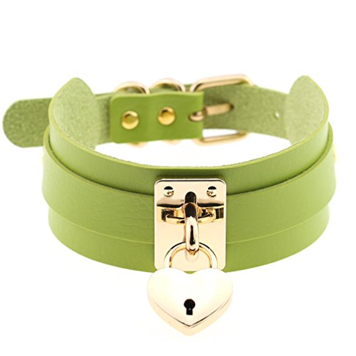 FM FM42 Green Gold-tone Openable Heart Lock PU Simulated Leather Necklace Neckband Buckle Choker PN1988