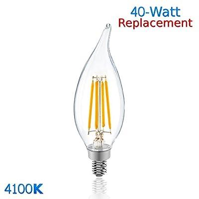Luxrite LR21240 (100-Pack) 4W LED Filament Candelabra Bulb, 40W Equivalent LED Candle Bulb, Cool White 4100K, 350 Lumens, 270° Beam Spread, E12 Base