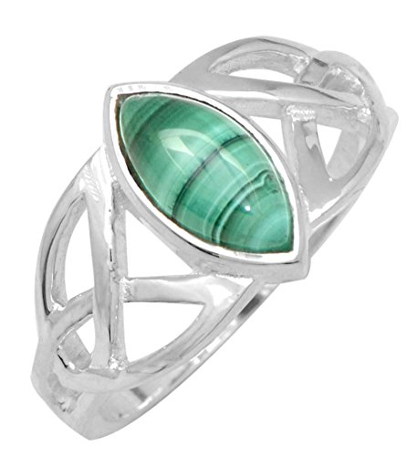 YoTreausre Natural Malachite Solid 925 Sterling Silver Ring Jewelry