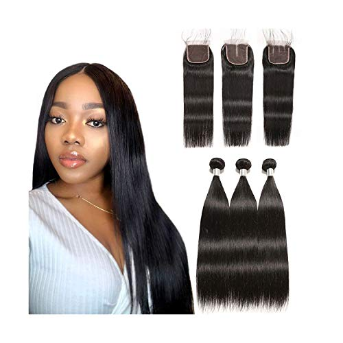 Brazilian Straight Human Hair Bundles With Lace Frontal Closure PrePlucked Ear to Ear Lace Frontal Closure With Bundles,20 22 22 & Closure18,Natural Color,Free Part