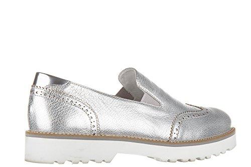 Hogan slip on femme en cuir sneakers route pantofola argent