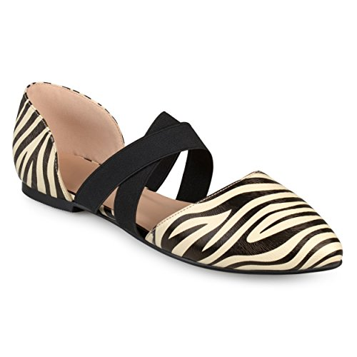 Journee Collectie Dames Faux Leder Criss Cross Puntschoen Platte Zebra