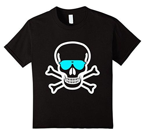 Kids Jolly Roger Sunglasses T-Shirt - Pirate Flag Skull Crossbone 12 Black