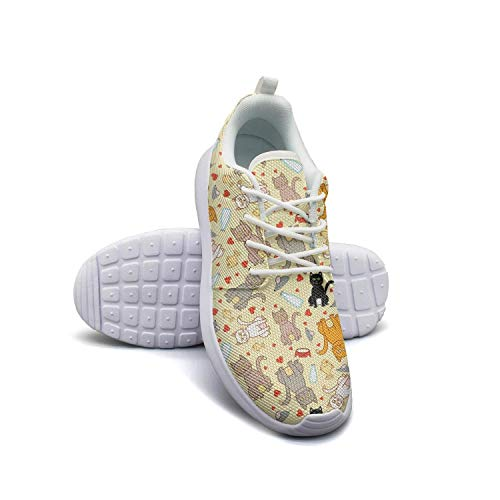 Cartoon Cat and Mice Yellow Background Lightweight Running Shoes for Men Sneaker Travel Fashion Shoes