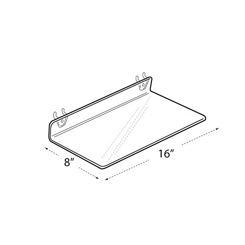 Count of 4 Retail Clear Acrylic Shelf for PEGBOARD and SLATWALL 16''W x 8''D x 2''H