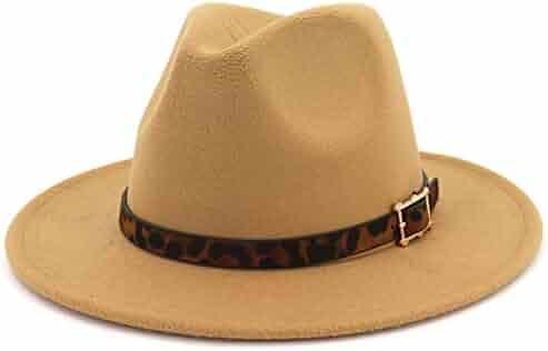 283f841e834d3 Mofri Women s Men s Unisex Buckle Leopard Strap Wide Brim Fedora Hat Cap