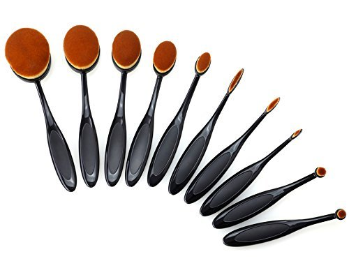 VIVII 10-Piece Professional Oval Toothbrush Makeup Brush Set with Box