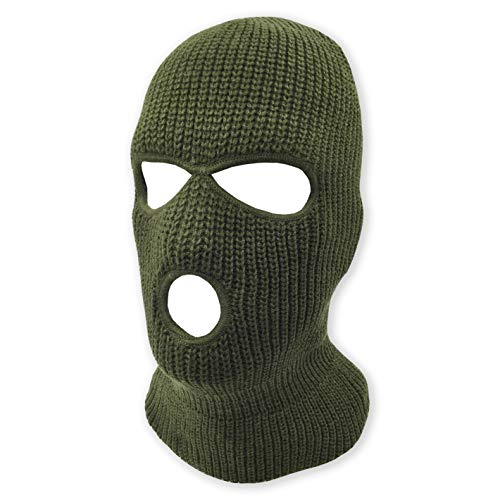 (3 Hole Beanie Face Mask Ski - Warm Double Thermal Knitted - Men and Women (Olive))