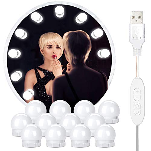 Vanity Lights for Mirror,12 Dimmable Hollywood Style Led Makeup Light Bulbs, 3 Color Modes Lighting Fixture Strip for…