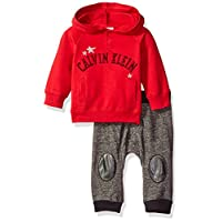 Calvin Klein Baby Solid Hooded Pullover with Patched Pants Set, Red, 3/6 Mont...