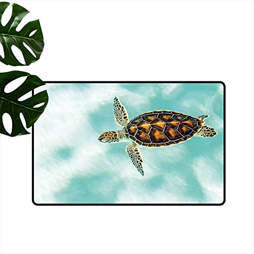(Anzhutwelve Turtle,Custom Floor Mat Cute Baby Turtle Swimming in Abstract Waters Serene Nature Picture Entrance Mat Waterproof W 20