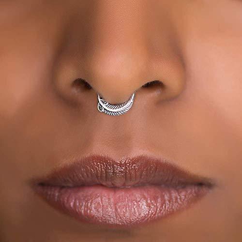 Sterling silver beaded nose ring handmade septum ring