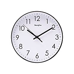 SonYo Indoor Non-Ticking Silent Quartz Modern Simple Wall Clock Digital Quiet Sweep Movement Office Decor 10 Inch(White)