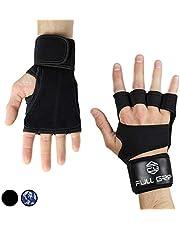 FULL GRIP Fitness-Handschuhe mit stützender Handgelenkbandage Trainingshandschuhe für Crossfit und Kraftsport mit Einer Handinnenfläche aus Leder