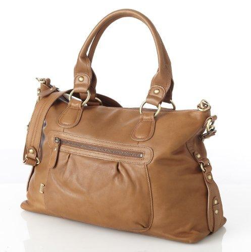 Oi-Oi - para cambiar pañales de cuero bolsa Slouch marrón