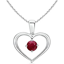 July Birthstone - Solitaire Round Ruby Open Heart Pendant Necklace for Women (4mm Ruby)