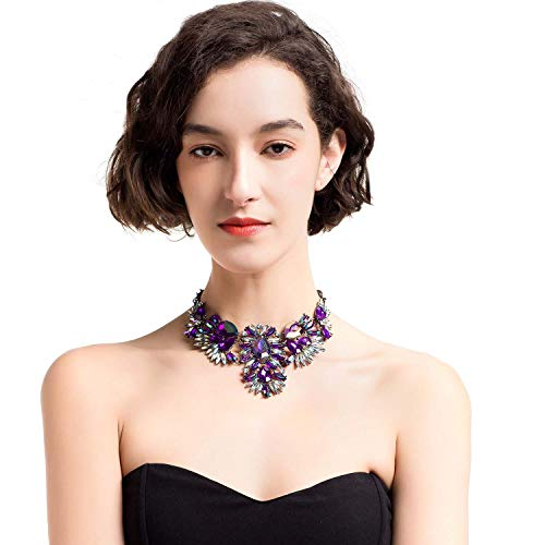 Holylove Charming Choker Necklace in Purple Glass Beads & Crystal Gift Box- HLN00021 Purple