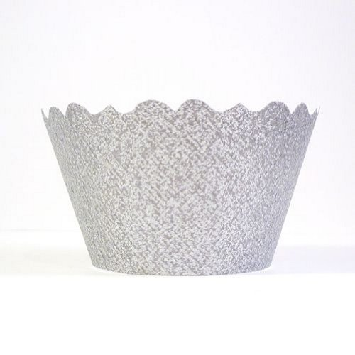 Glitter Silver Cupcake Wrappers - pack of 60 by BCC