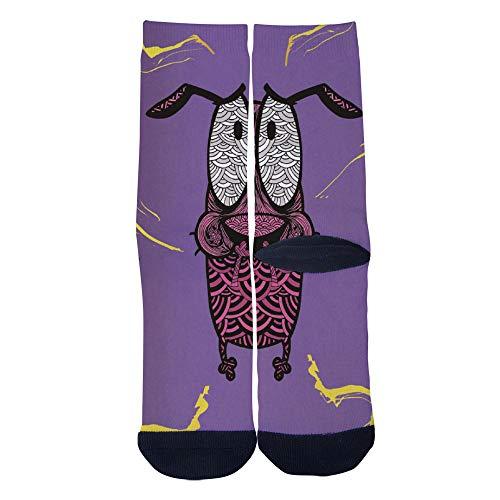 Mens Womens Courage the Cowardly Dog Socks 3D Print Custom Creative Casual Crew Socks Black]()