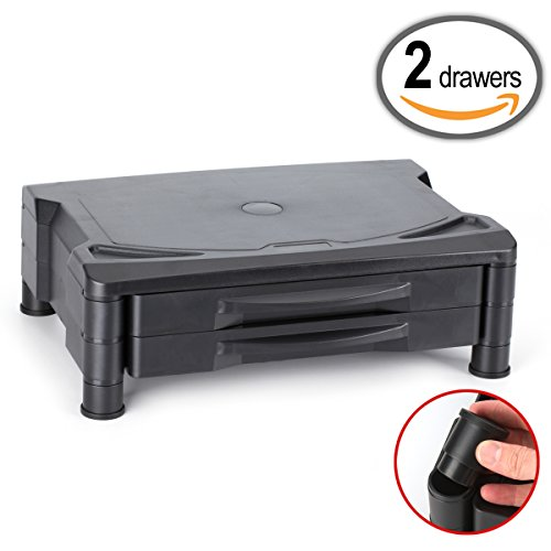 Adjustable Monitor Stand/Riser with Two Drawers, Adjusts to 2 Heights, 15.5