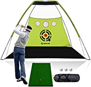 SAPLIZE Golf Nets 10 x 7ft + Hitting Mat Bundle, Practice net with Chipping Holes, Available for Outdoor/Indoo