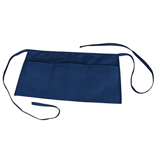 NuFazes Waist Bib Apron Spun Poly-Commercial Restaurant Kitchen 3 Pocket in Navy Blue (Blue 3 Pocket Waist Apron)