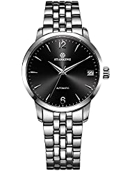 STARKING Classic Womens Automatic Self Winding Silver Black AL0194 Sapphire Stainless Steel Watches Date 32mm