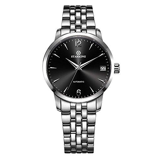 Black Self Winding Bracelet (STARKING Classic Women's Automatic Self Winding Silver Black AL0194 Sapphire Stainless Steel Watches Date 32mm)