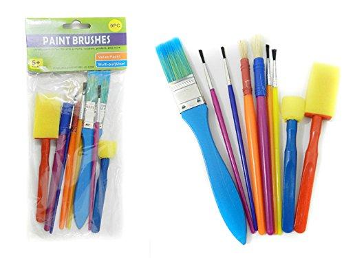 9PC Artist Paintbrush & Sponge Set , Case of 144 by DollarItemDirect