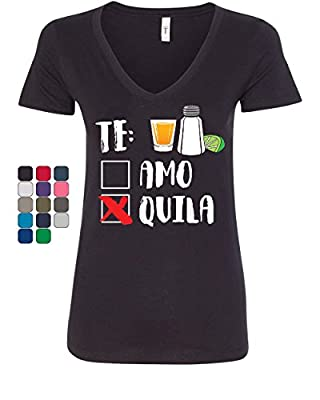 Tee Hunt TE Amo or Tequila Women's V-Neck T-Shirt Funny Cinco De Mayo & Drinko Mexican
