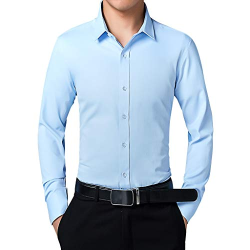 NIUQI Men's Business Fashion Body-Building Pure-Color Long-Sleeved Shirt