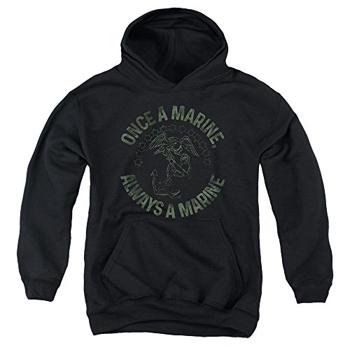 Trevco US Marine Corps Always A Marine Unisex Youth Pull-Over Hoodie For Boys and Girls