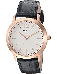 GUESS Men's Quartz Stainless Steel and Leather Casual Watch, Color:Black (Model: U0922G4)