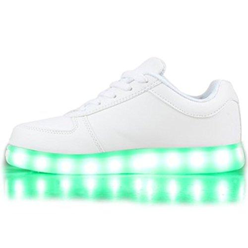 (Present:kleines Handtuch)JUNGLEST Blinkende Damen Sneakers High Led Light Fa Weiß