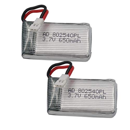 FidgetGear 2 pcs 3.7V 25C 650 mAh Polymer Li Battery for Helicopter Models RC Drone 802540 from FidgetGear