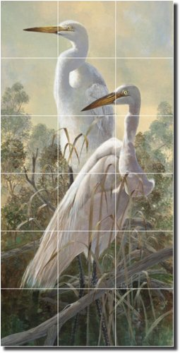 ''Graceful Egrets'' by Robert Binks - Artwork On Tile Ceramic Mural 36'' x 18'' Wall Shower Backsplash
