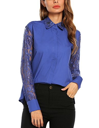 SE MIU Women's Casual Button Down Shirt Long Sleeve Patchwork Lace Blouse Tops - Miu Sale Clothing Miu