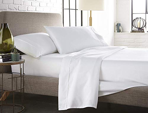 Mandarin Hotel Collection Top Quality 600-Thread Count  Egyptian Cotton Luxurious 4-PCs Sheet Set Twin Size White Solid 13-15