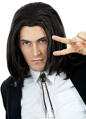 Best Las Vegas Halloween Costumes (Hitman Black Wig 90s Mens Costume Wigs Black Natural Hairstyle Can Tie into Ponytail - Fits Men &)