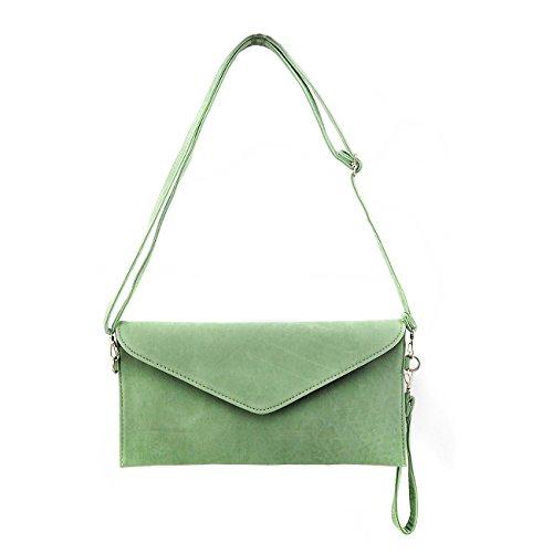 jieway ante sintético de embrague noche bolsa bolso de hombro de la mujer mensajero sobre bolsas Verde (Mint)