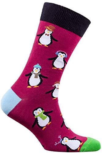Socks n Socks-Men's Luxury Cotton Colorful Funny Cool Penguin Socks ()