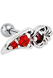 925 Sterling Silver and Stainless Steel Red Filigree Cartilage Earring
