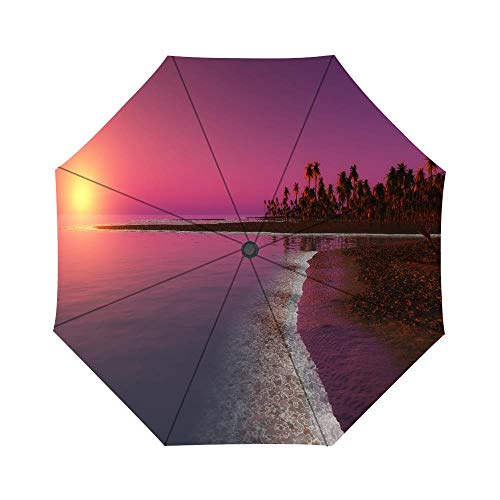 Twilight Sunset Pattern Windproof Compact One Hand Auto Open and Close Folding Umbrella, Compact Travel Umbrella Folding Rain Outdoor Umbrellas